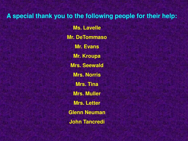 A special thank you to the following people for their help: