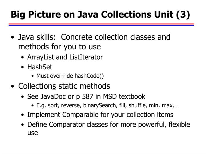 Big Picture on Java Collections Unit (3)