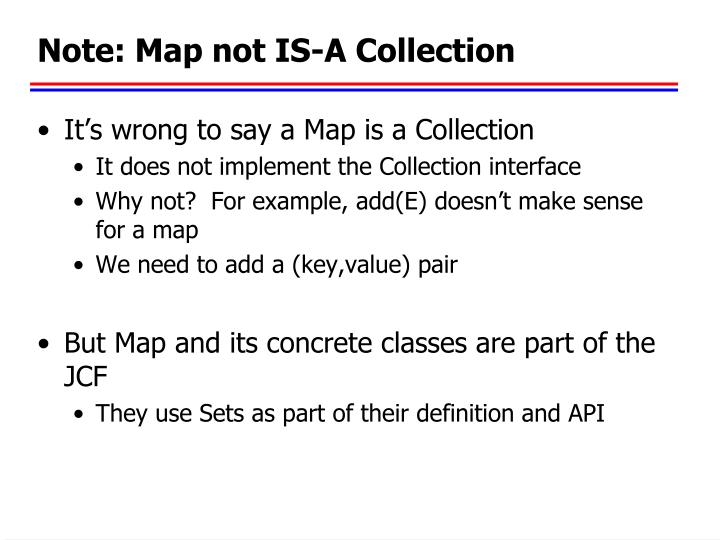 Note: Map not IS-A Collection