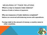 measuring of trade relations