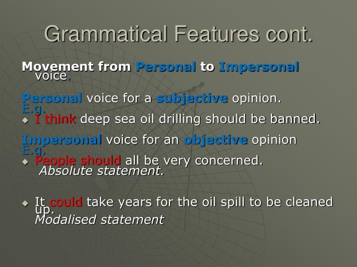 Grammatical Features cont.