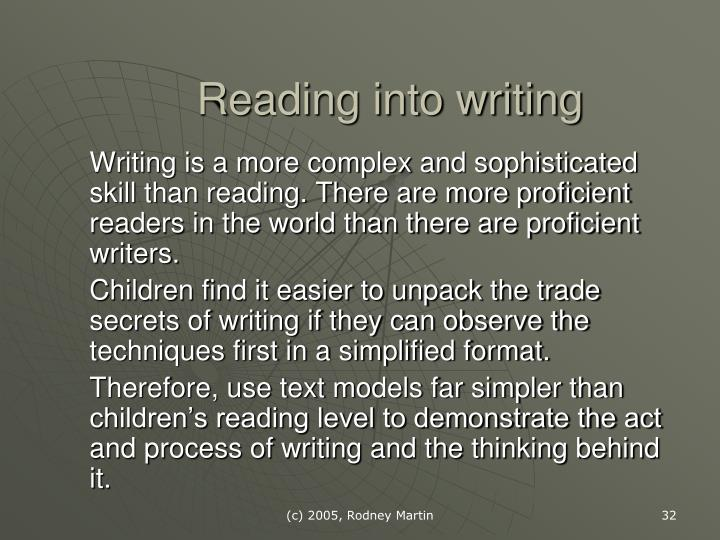 Reading into writing