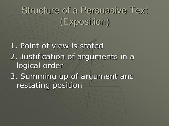 Structure of a Persuasive Text (Exposition)