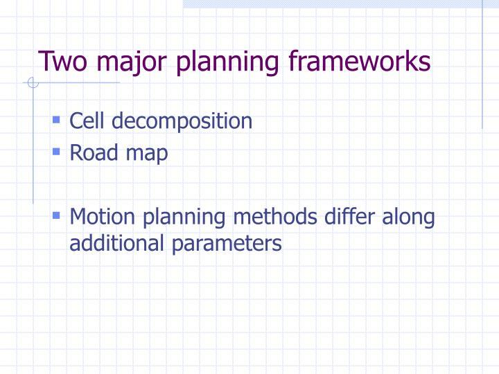 Two major planning frameworks