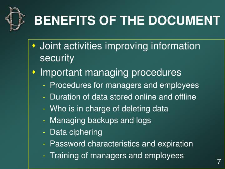 BENEFITS OF THE DOCUMENT