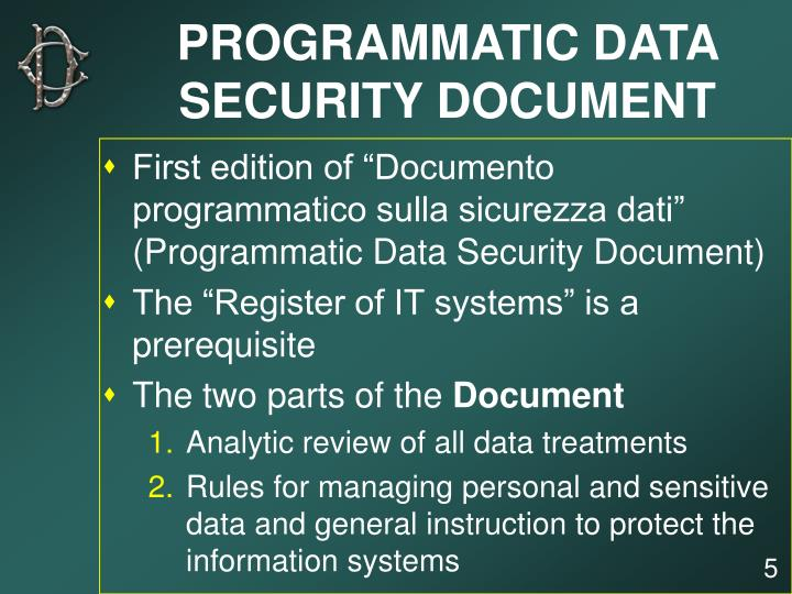 PROGRAMMATIC DATA SECURITY DOCUMENT