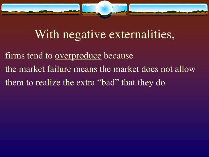 With negative externalities,