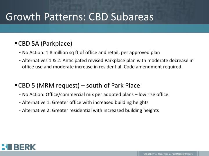 Growth Patterns: CBD Subareas