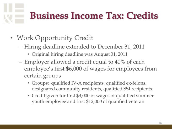 Business Income Tax: Credits