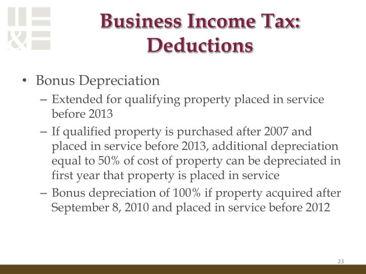 Business Income Tax: Deductions
