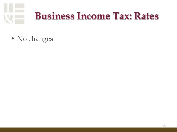 Business Income Tax: Rates