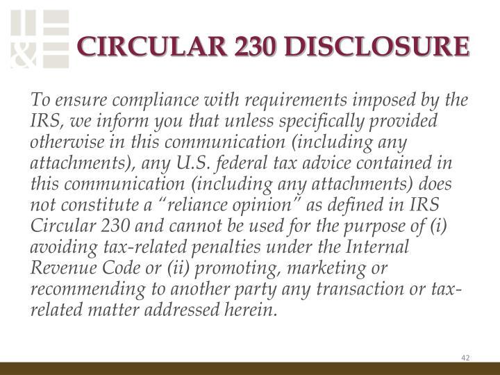 CIRCULAR 230 DISCLOSURE