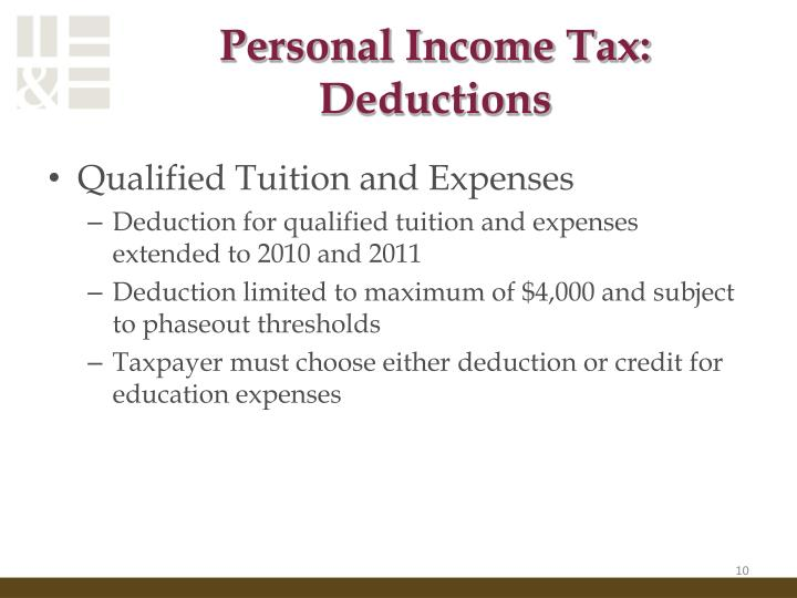 Personal Income Tax: Deductions