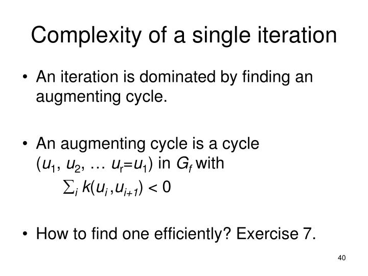 Complexity of a single iteration