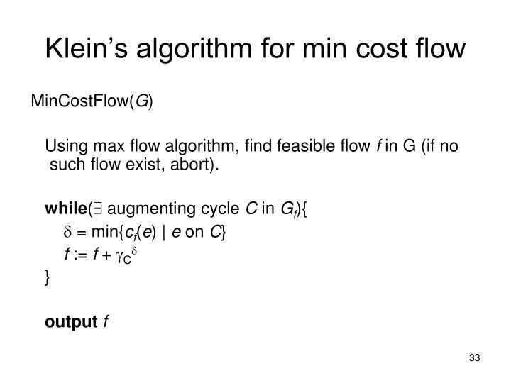 Klein's algorithm for min cost flow