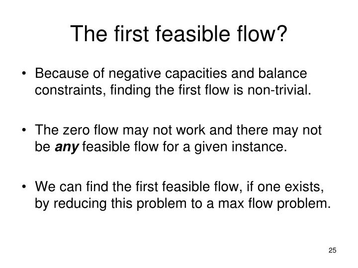 The first feasible flow?