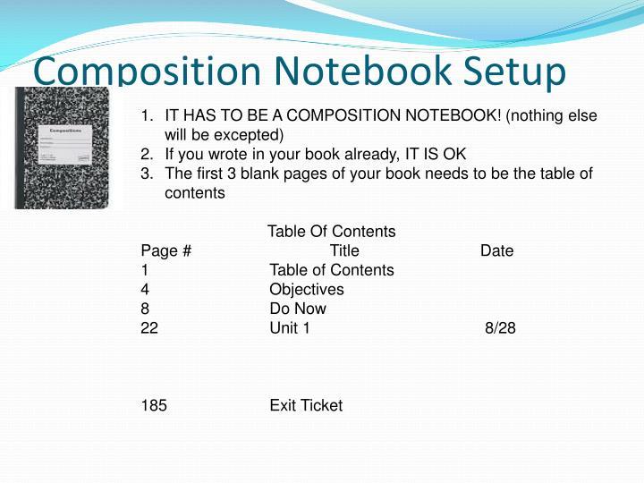 Composition notebook setup
