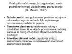 pristopi k na rtovanju ki zagotavljajo med podro no in med disciplinarno povezovanje g maxim 1997