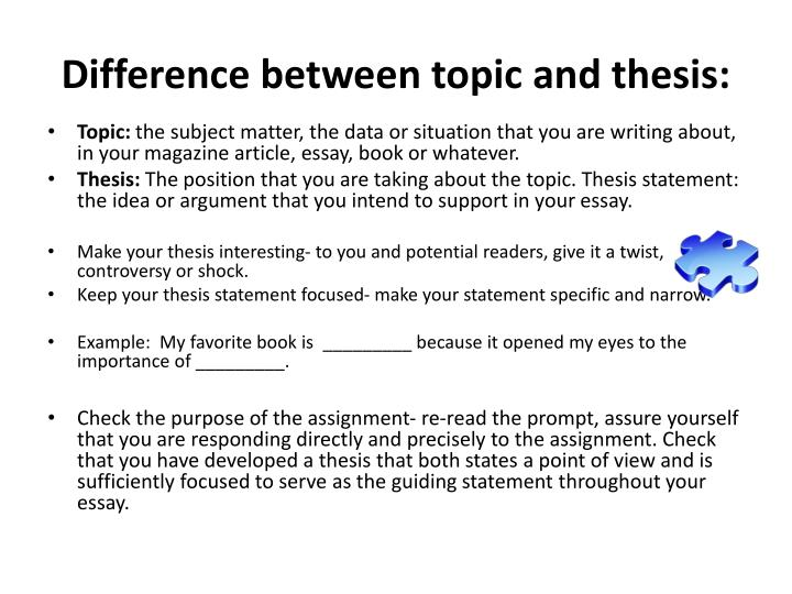 Difference between topic and thesis