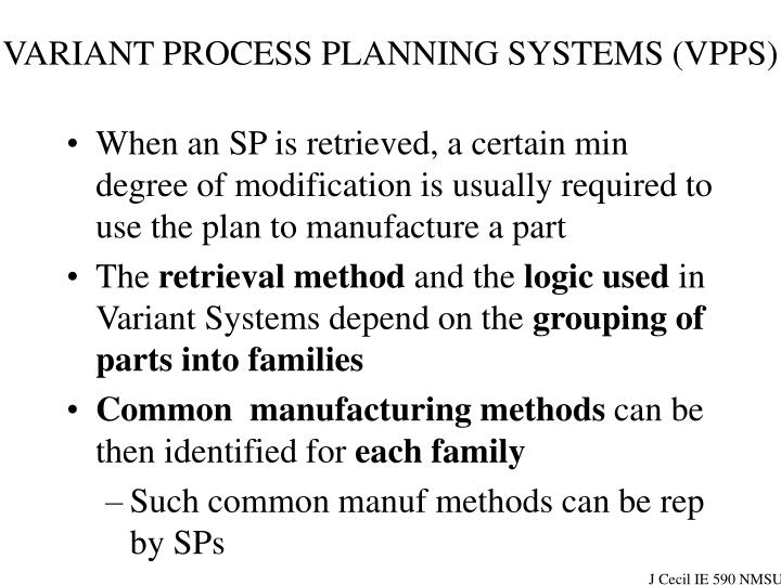 VARIANT PROCESS PLANNING SYSTEMS (VPPS)