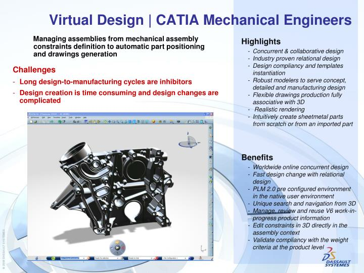 PPT - Virtual Design | CATIA Mechanical Engineers PowerPoint