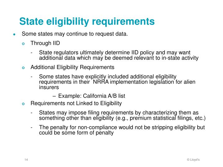 State eligibility requirements