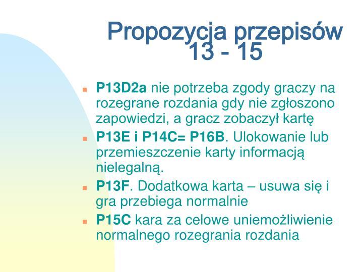 Propozycja przepisów 13 - 15