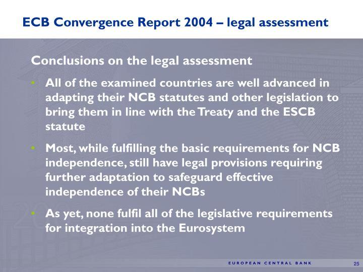 ECB Convergence Report 2004 – legal assessment