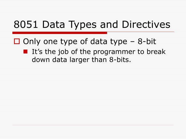8051 Data Types and Directives