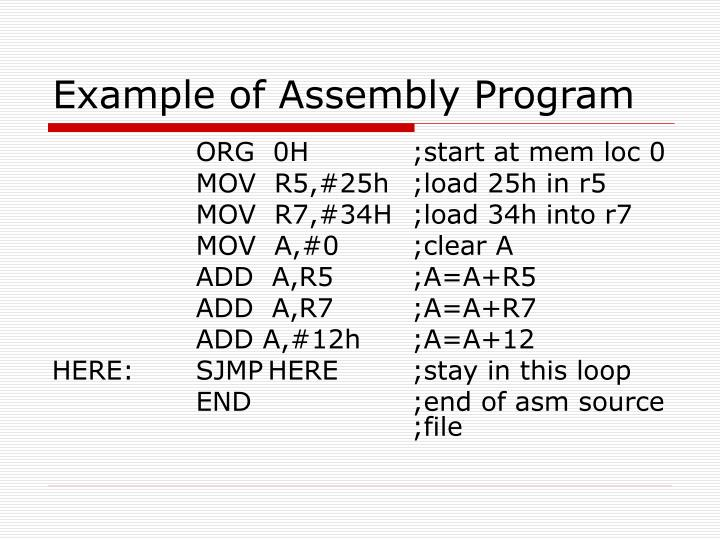 Example of Assembly Program