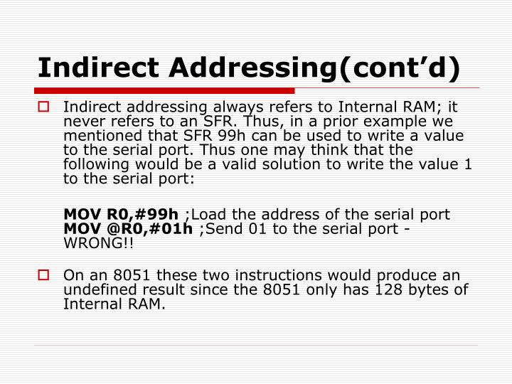 Indirect Addressing(cont'd)