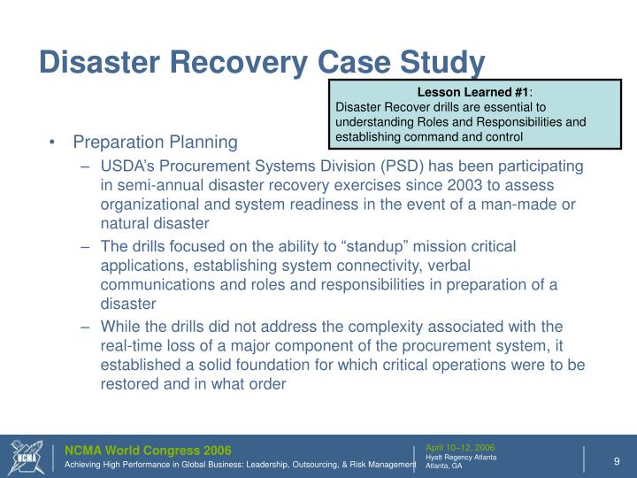 Disaster Recovery Case Study
