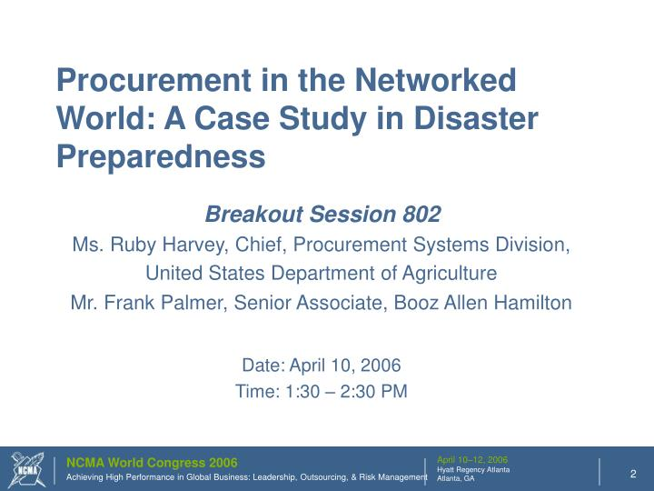 Procurement in the Networked World: A Case Study in Disaster Preparedness