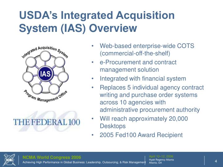 USDA's Integrated Acquisition System (IAS) Overview