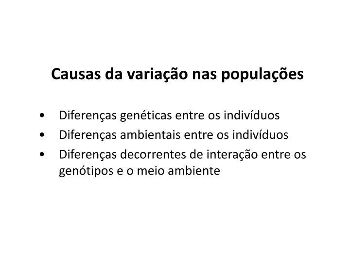 Causas da variação nas populações