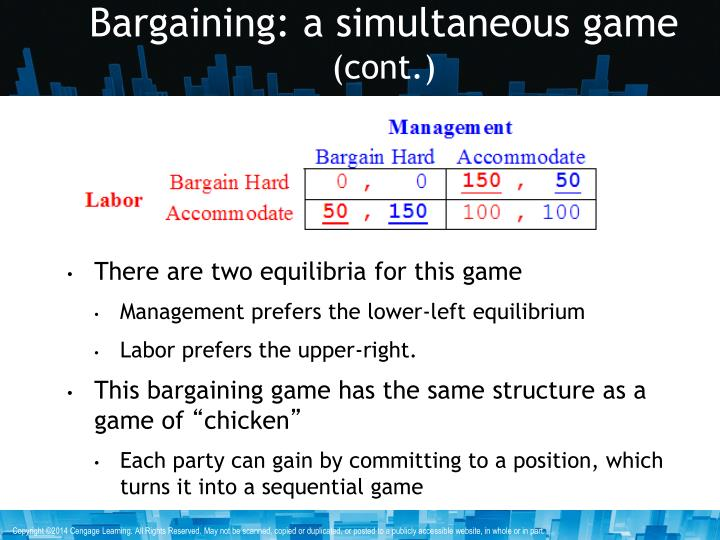 Bargaining: a simultaneous game