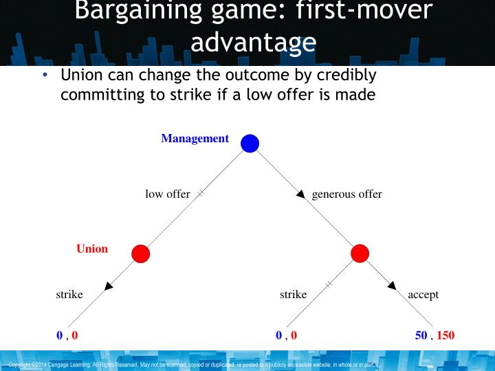 Bargaining game: first-mover advantage