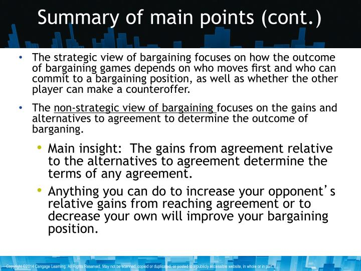 Summary of main points cont