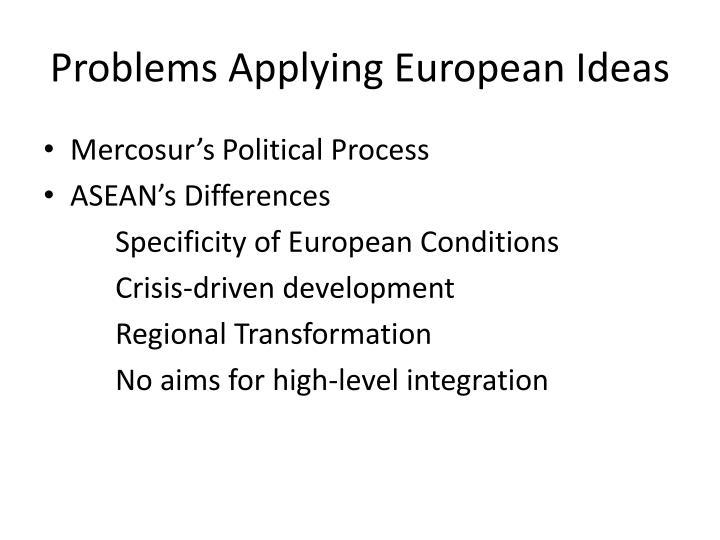 Problems Applying European Ideas
