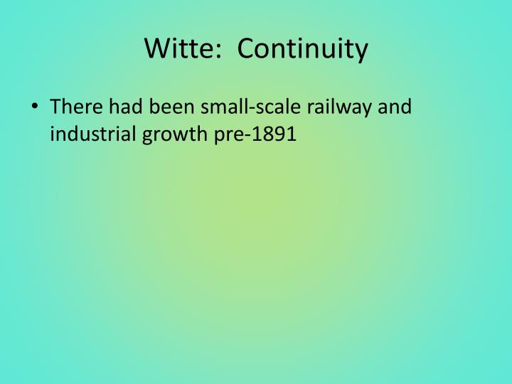 Witte:  Continuity