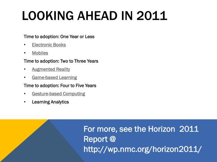 Looking ahead in 2011