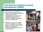 thai business initiative in rural development tbird