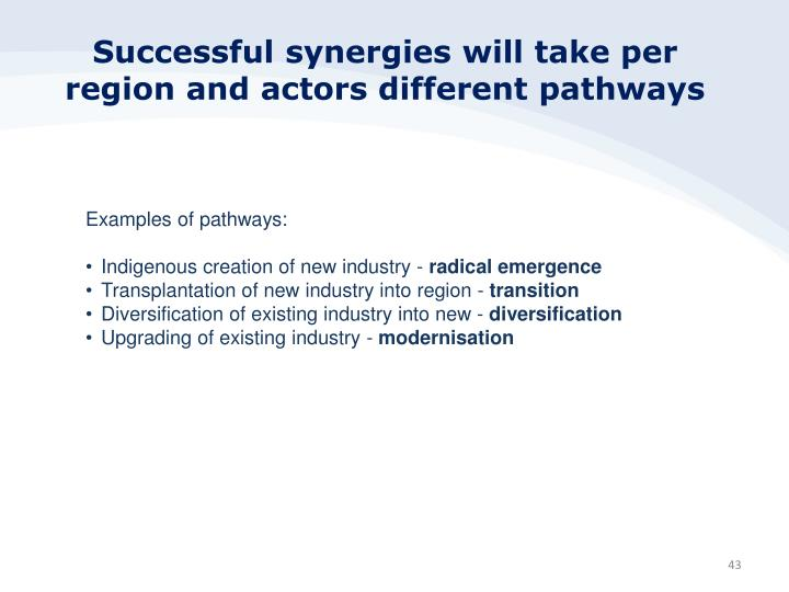 Successful synergies will