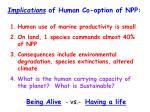 implications of human co option of npp