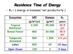 residence time of energy