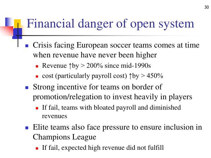 Financial danger of open system
