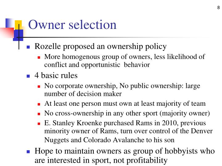 Owner selection