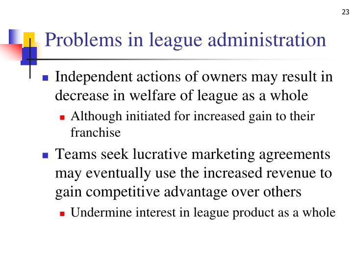 Problems in league administration