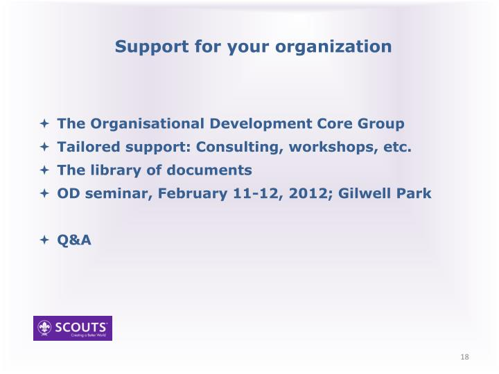 Support for your organization