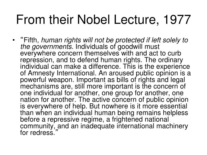 From their Nobel Lecture, 1977